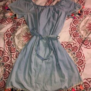 Blue festive casual dress.